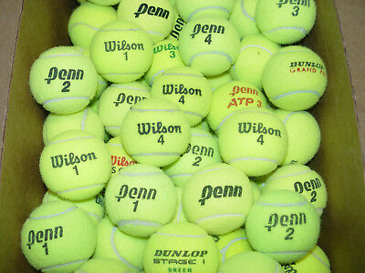 100 Clean Bright Yellow Tennis Balls Batting Practice Fetch Toys Floor Protector