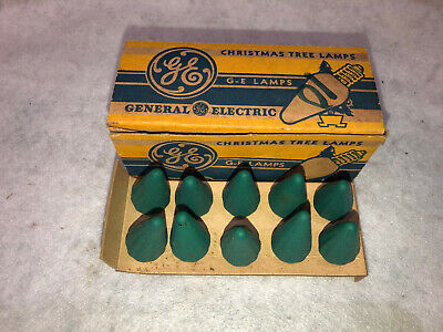 C6 10 Pack Green Bulbs Vintage General Electric GE Christmas Tree Lamps NOS