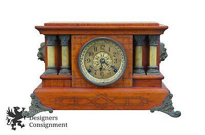 Antique Seth Thomas Cherry Adamantine 295E 4 Pillar Imperial Mantel Clock Lions