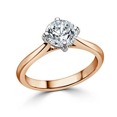 2.00 Ct VVS1/D Round Cut Solitaire Diamond Engagement Ring 14K Solid Rose Gold