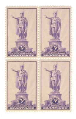 Kamehameha I – First King of Hawaii 80 Yr Old Mint Vintage Stamp Block from 1937