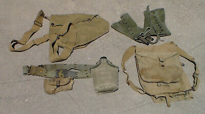 Old WW2 era US Army M-1928 Backpack & Belt & Canteen & Mess Kit & More USED