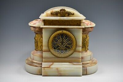 French Gilt-Marble Mounted Alabaster Shelf Clock Of Classical Form**GORGEOUS**