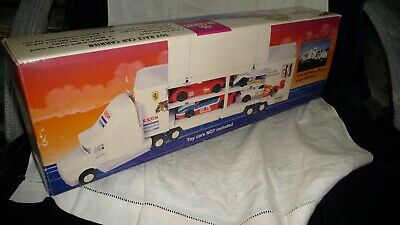 #89 vtg 1995 EXXON TRUCK 4th Series Race Car Carrier w cars IN BOX