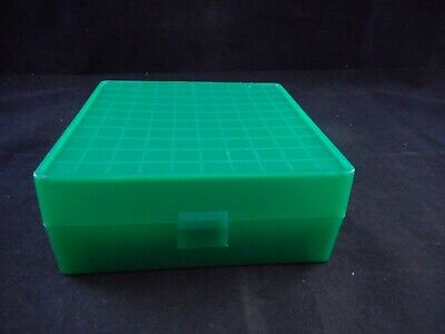 Lab Plastic 10x10 100-Place Cryogenic Freezer Box Alphanumeric Labeled Green