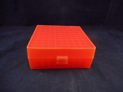 Lab Plastic 10x10 100-Place Cryogenic Freezer Box Alphanumeric Labeled Orange