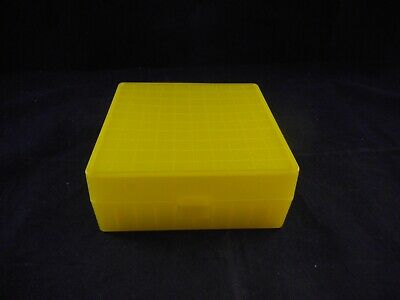 Lab Plastic 10x10 100-Place Cryogenic Freezer Box Alphanumeric Labeled Yellow