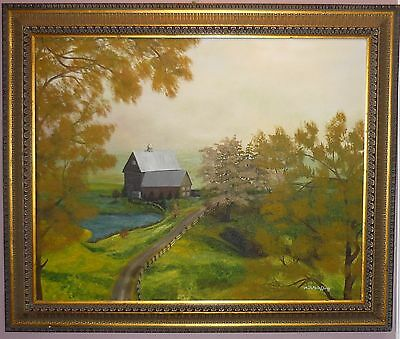 Landscape Country Road Original Oil Painting Canvas 24x30 Signed by NMcCafferty