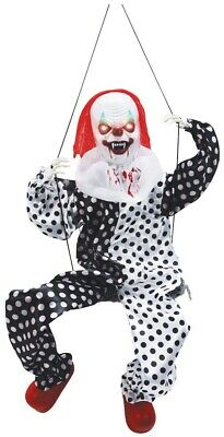Animated Kicking Scary Evil Clown on a Swing Halloween Prop Decoration NEW