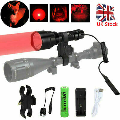 8000LM lamp scope mount gun light lamping hunting air rifle torch + Batteries