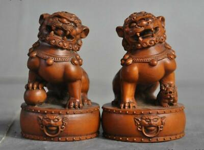 Old China Fengshui Boxwood wood Hand carved Foo dog Beast Lion lucky Statue Pair