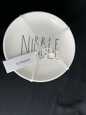 Rae Dunn NIBBLE Plates (set of 4) Dessert, Snack, Appetizer Small - BRAND NEW