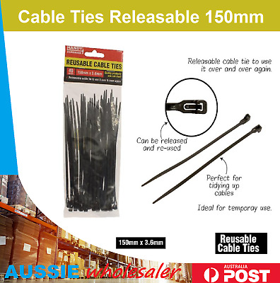 Cable Ties Releasable 150/250mm Multi Qty Nylon Plastic Reusable Wraps Wire