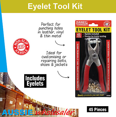 Eyelet Tool Kit Leather Hole Grommet Rivets Setting Pliers Bag Shoes Belt 45pc