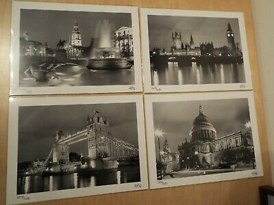 "4 Limited Edition 13.5"" x 10"" Art Photograph Prints Iconic London Night Sights"