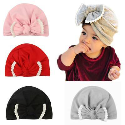 Baby Turban Headwraps Bow Knot Girl Hats Cute Newborn Full-head Cotton Blend