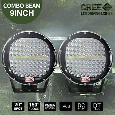 NEW Cree Pair 9inch LED Driving Lights Round Spotlights Offroad 4x4 SUV Black