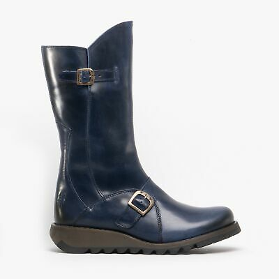 Fly London MES 2 Ladies Womens Leather Zip Up Mid Calf Wedge Heel Boots Blue