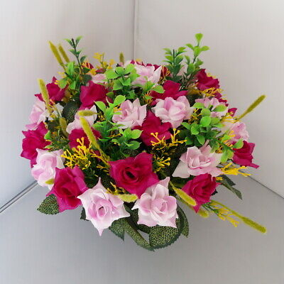 Deep Pink/Light Pink Roses Arrangement | Artificial Flower Pot | Grave/Memorial