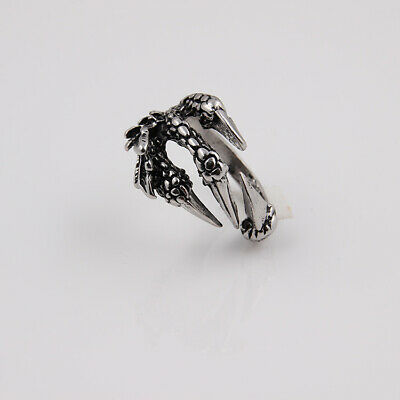 Cool Silver Plated Punk Devil Hawk Claw Retro Ring Night Club Jewelry Man Gift