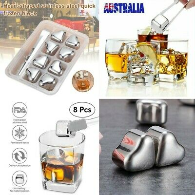 8pcs Stainless Steel Icy Cubes Reusable Chilling Stone Difficult To Rust