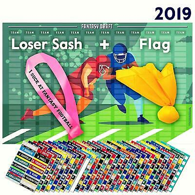 2019 Fantasy Football Draft Board Kit 400+ Player Labels with Penalty Flag Sash