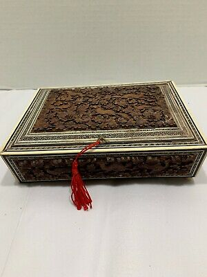 Antique 19thC Oriental Box Inset Lid Bone Ebony Frame Carved Peacocks Dogs Flora