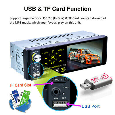 """4.1"""" Single 1Din Touch Car Stereo MP5 MP3 Player RDS AM FM Radio BT AUX USB TF"""