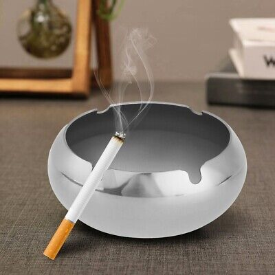 Windproof Ashtray Cigarette Smoking Stainless Steel Container Table Desk Tools