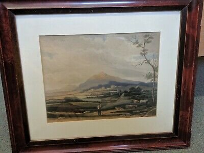 Antique 19th Century Victorian watercolour. Naive landscape with farmer & cattle