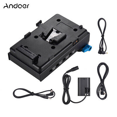 Andoer V-Mount Battery Adapter Plate + Dual Hole Rod Clamp for BMCC Canon Y7N8