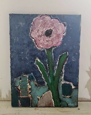 Abstract Flower - Original Painting Mixed Media Art Signed Canvas 9X12