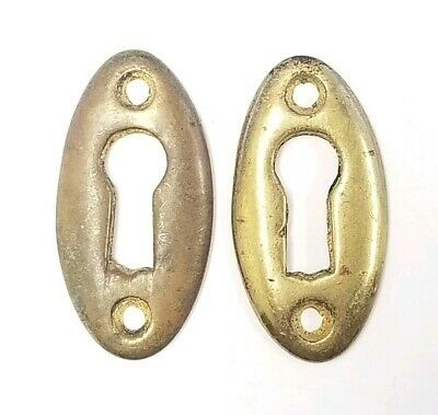 Small Brass Antique Escutcheon Rosette Skeleton Key PAIR