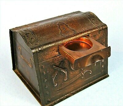 VINTAGE FIGURAL METAL PIRATE TREASURE CHEST DROP SLOT COIN BANK w/ SECRET DRAWER
