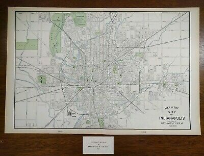 """Vintage 1902 INDIANAPOLIS INDIANA Map 22""""x14"""" ~ Old Antique ANDERSON CARMEL AVON"""
