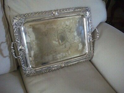 Stunning Mid Victorian Antique Heavy Large & Ornate Silver Plated Tray