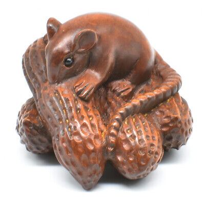 Hand Carved Japanese Boxwood Netsuke Mouse & Peanuts Wood Carving Rat Figure