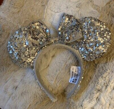 Disney Parks Minnie Mouse Ears Headband Silver with Bow All Sequins