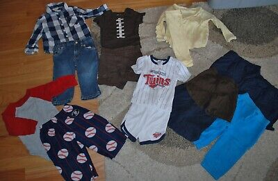 Boys Outfit Lot of 15: Shorts Bodysuit MN Twins Baseball Football Pants 12M TCP