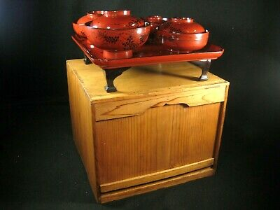 ANTIQUE JAPANESE (c.1880) SET OF 8 RED & BLACK LACQUER BOWLS W/OZEN TRAY & BOX