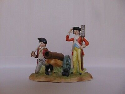 Revolutionary War Soldiers With Cannon - Figurine - Bisque Porcelain