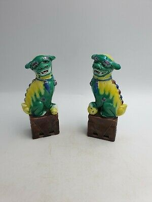 Vtg Chinese Pottery Foo Fu Temple Dogs Lions Figurines Green Yellow Glaze -Pair