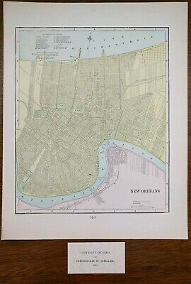 "NEW ORLEANS LOUISIANA 1901 Vintage Atlas Map 11""x14"" Old Antique ELMWOOD SLIDELL"
