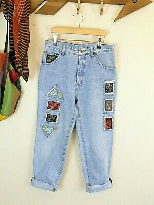 Vintage Capito Jeans. High Waist. MOM. Tapered. Patches. 80s. 90s. 30IN. UK12-14