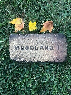 """Antique Brick Salvaged Brick Labeled """"Woodland 1"""" Very Nice Old Salvaged Fire B"""