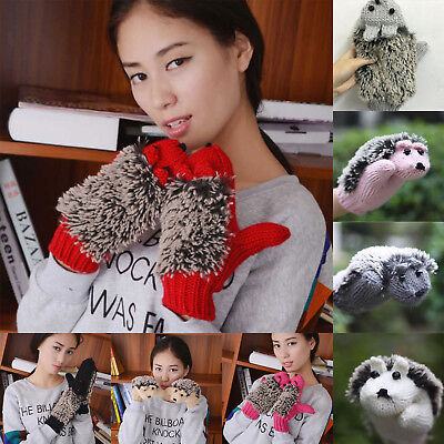 Women Girl Cute Warm Winter Fuzzy Knitted Hedgehog Gloves Thermal Finger Mittens