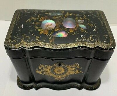 """Antique 19thC French Blk Lacquer Abalone Inlay Tea Box Gilded Detail 6x4x4"""""""