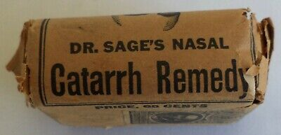 Quack Medicine Bottle Box Instructions Contents Dr.sage's Nasal Catarrh Remedy
