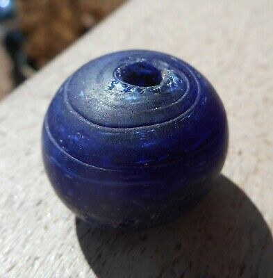RARE Large bead, old Round Deep BLUE DOGON antique bead 25mm x 22mm