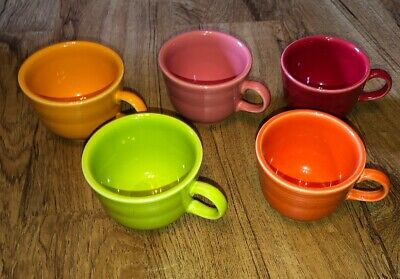 Lot of 5  FIESTAWARE FIESTA COFFEE TEA CUPS HLC DIFFERENT COLORS